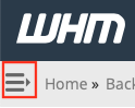 Expand WHM Sidebar by clicking on Expansion Icon