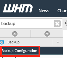 Click backup configuration in WHM sidebar