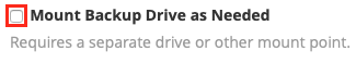 Do not mount backup drive unless you know how this will affect things