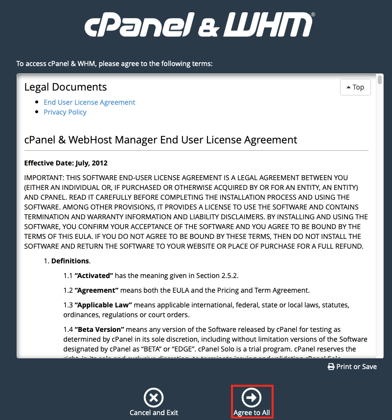 Accept the cPanel's End User License Agreement