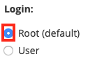 Select the Root User Radio Button