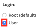 Select the User Radio Button