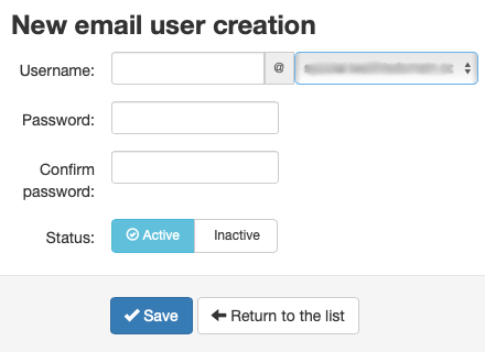 Fill in the Email User Account Details