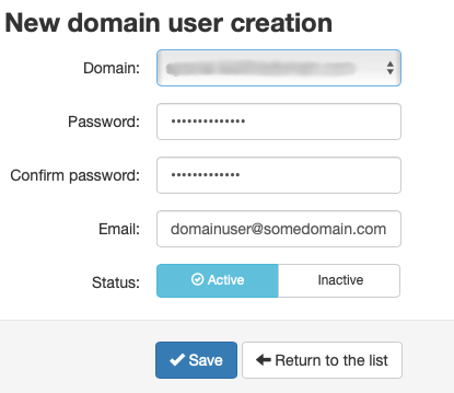 Select the Domain and Fill in a Password and Click Save