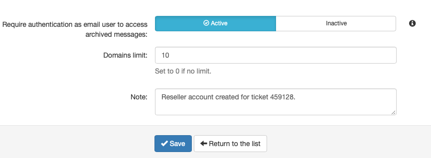 Select the Final Limitations and Enter an Optional Note Before Saving the Account
