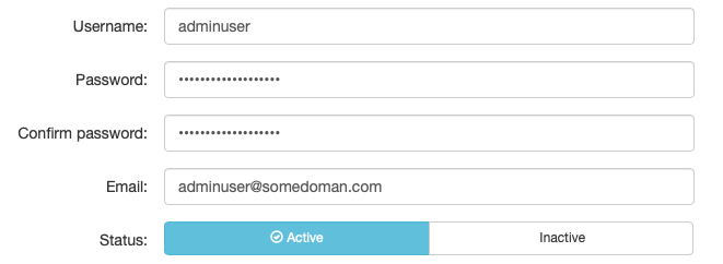 Fill in the Username, Password and Email Address for the Admin Account