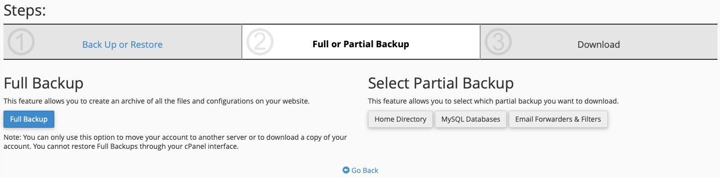 Choose the Type of Backup you Want to Make and Click the Appropriate Button(s)
