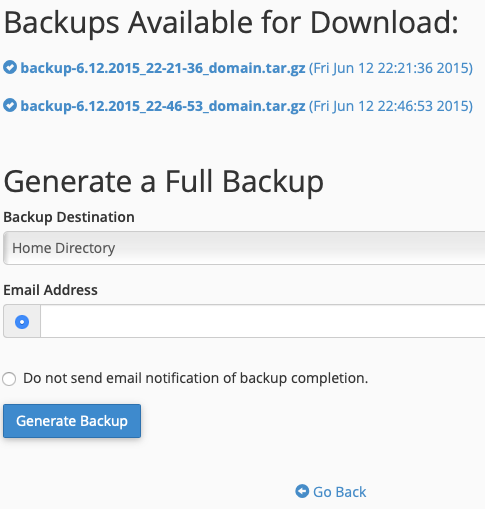 Select the Existing Full Backup to Download or Create a New One