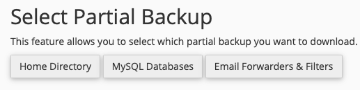 Click the Button for the Type of Partial Backup you want to Create