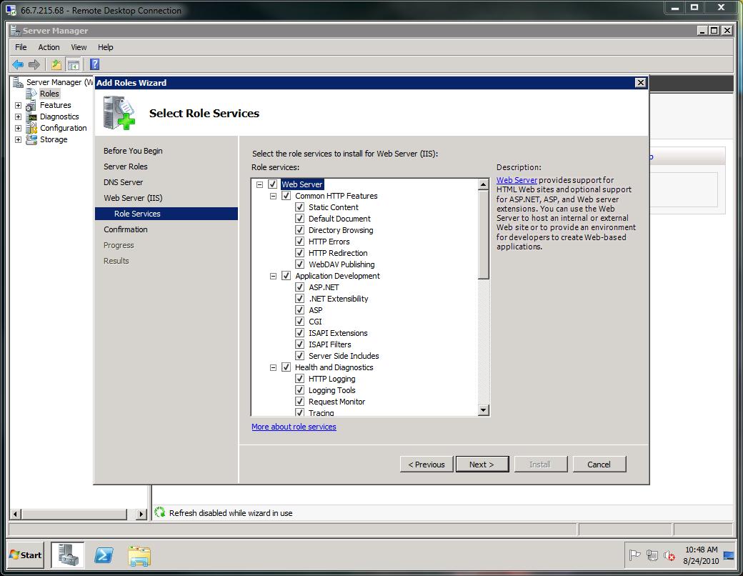 Installing IIS and DNS on Windows 2008 - HostDime Knowledge Base