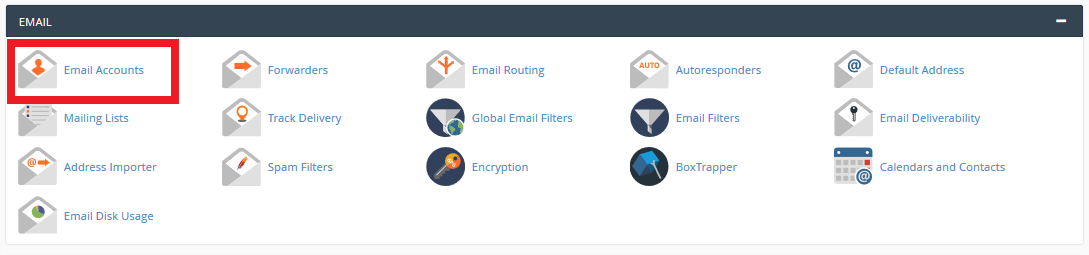 Select Email Accounts from the Email Section of your Account