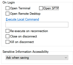 If you Only Need an SSH Tunnel Uncheck all Options in the On Login section of the Options tab