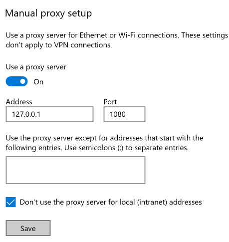 Enable and then Fill out the Proxy Settings