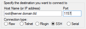 Fill in your Server's Host Name and Port and Ensure the Connection Type is SSH