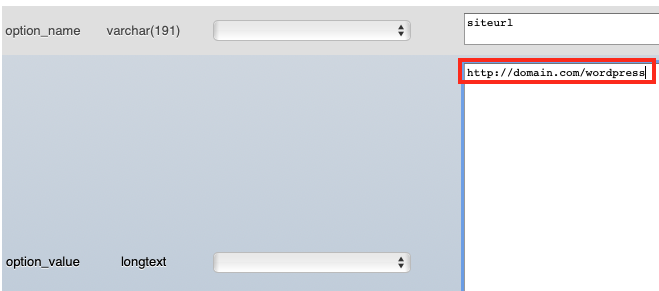 Change the URL in the Option_value in phpMyAdmin