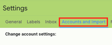 Select Accounts and Import from the Top of the Settings Screen.