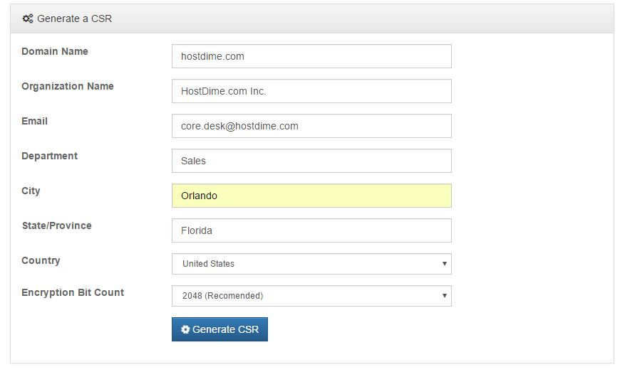 Type in the Domain Name and Other Information Requested and Click Generate CSR