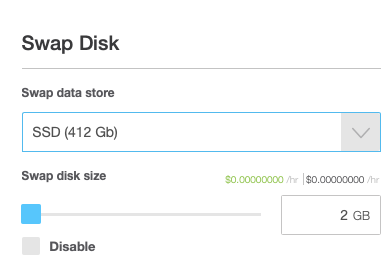 Specify the Swap Disk Type and Size if Your OS Supports It