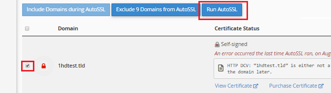 Click the Run AutoSSL button After Checking the Box Next to the Domain(s) you Want to Secure