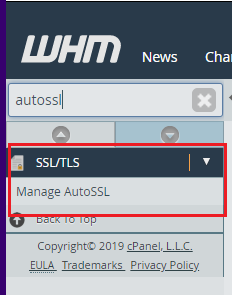 Click on Manage AutoSSL in the Sidebar