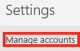 Click on Manage Accounts which is the First Option Under the Settings Menu