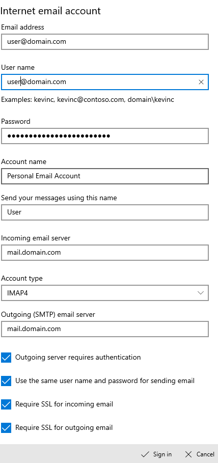 Enter the Information Required to Set up Your Mail Account
