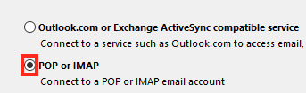 Choose POP or IMAP and Click Next