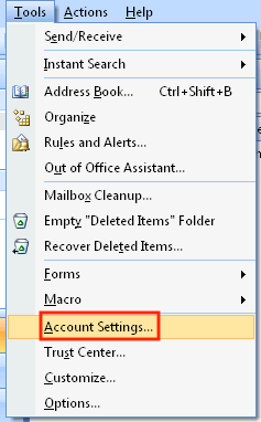 Choose Account Settings... Under the Tools Menu