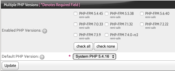Check the Box Next to the Versions of PHP you want to Enable and click Update to Install Them.
