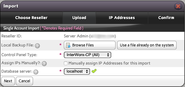 Choose the IP address and Database Server for the InterWorx Backup you Upload Now or Select from your InterWorx Server