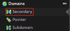 Select Secondary from the Domain Menu