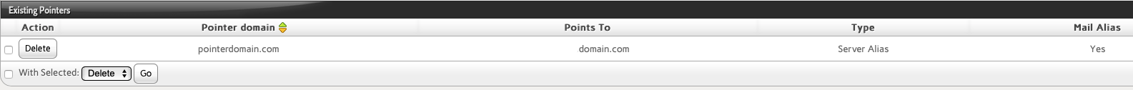 Find the Pointer Domain You Want to Remove and Click Delete and Confirm the Deletion Request