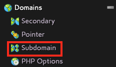 Choose Subdomain in the Domains Section