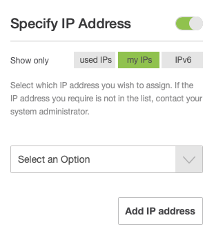 Enable Specify IP Address if you Want to Pick a Specific IP Address