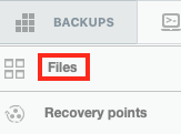 Select Files from the Backups Menu