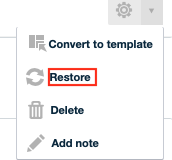 Click Restore Next to the Backup you Want to Use