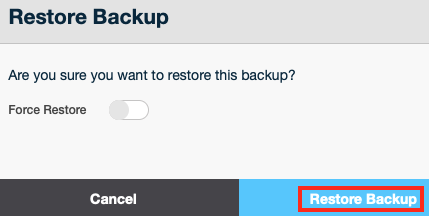 Click on Restore Backup to Restore your Virtual Server to the State it was in when the Backup was Made