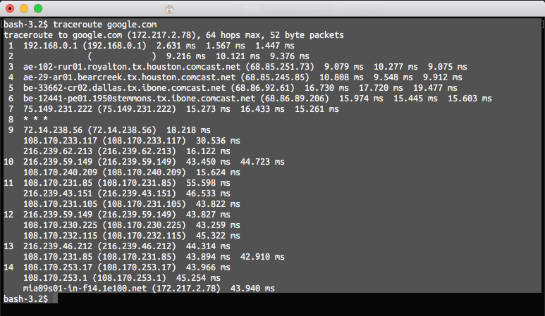 Selected traceroute results in a terminal window on a Mac.