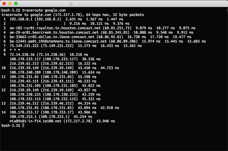 Traceroute results in a terminal window on a Mac.