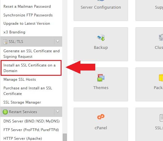 Install SSL via WHM
