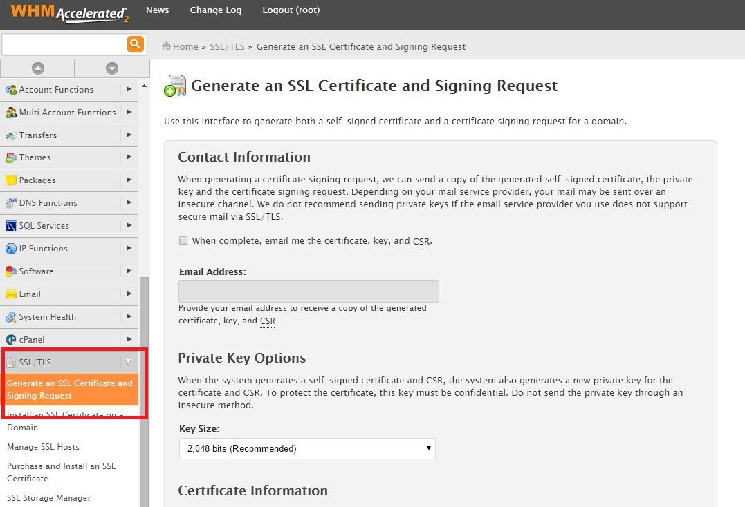Generate your own self signed ssl certificate in whm hostdime 3 enter all of the whois registrant information for your domain name make sure the key size is set to 2048 bits you can use any password of your choice xflitez Image collections