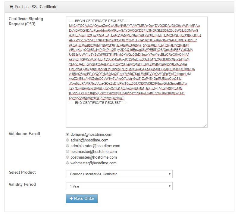 How to order an SSL via CORE - HostDime Resources